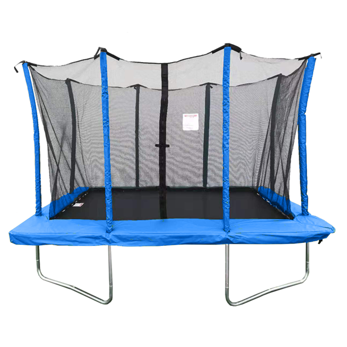 Image of Air Dog 8x12ft Rectangular Blue Trampoline With Safety Enclosure