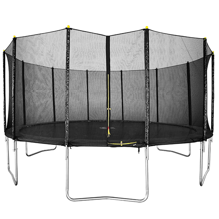 Image of Air Dog 16ft Black Trampoline with Safety Enclosure