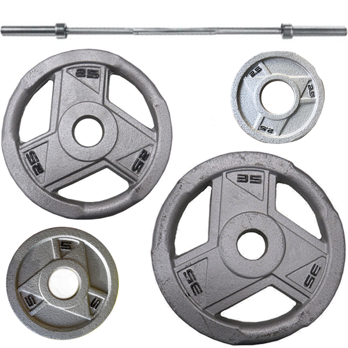 Ironman 200lb Olympic Weight Set Grey with 86 Inch Olympic Weight Bar
