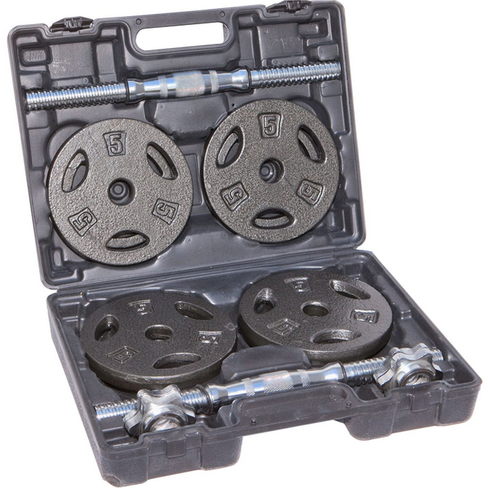 IronMan 40lb Cast Iron Adjustable Dumbbell Set with Carry Case