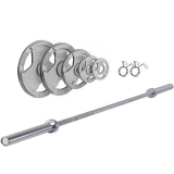 """Ironman 100kg Olympic Tri-grip Weight Set with 72"""" Olympic Weight Bar"""
