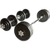 Ironman 20kg Cast Iron Dumbbell And Barbell Set