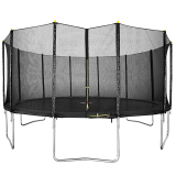16ft Black Trampoline with Safety Enclosure