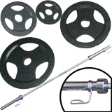 Ironman 160kg Olympic Tri-grip Hammerton Weight Set with 2.2m Olympic Weight Bar