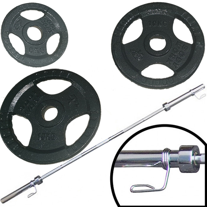 Ironman 140kg Olympic Tri-grip Hammerton Weight Set with 2.2m Olympic Weight Bar
