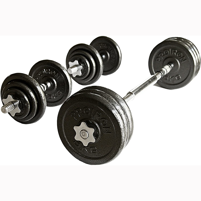 Ironman 30kg Cast Iron Dumbbell And Barbell Set