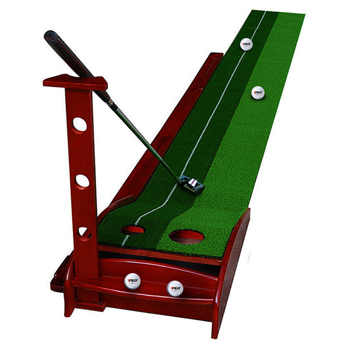 Hillman PGM Pine Wood 3.5m Golf Putting Trainer with Auto Ball Return